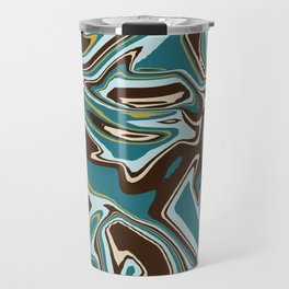 Teal Brown Beige and Gold Abstract Liquid Art Travel Mug