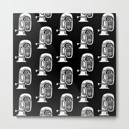 Tuba Pattern Black and White Metal Print