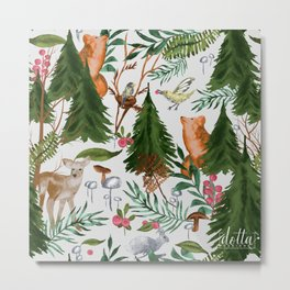 Light Winter Forest Animals Metal Print