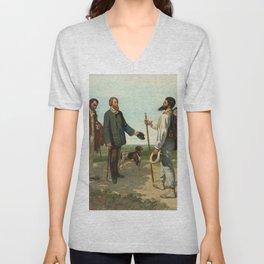 """Gustave Courbet """"Bonjour, Monsieur Courbet"""" Unisex V-Neck"""