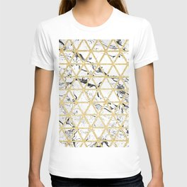 Stylish white marble faux gold glitter triangles pattern T-shirt