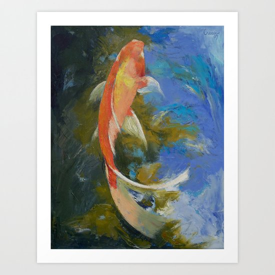 Butterfly Koi Painting Art Print