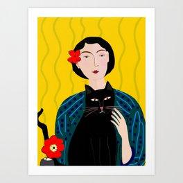 Lady with Black Cat Art Print