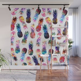 watercolor and nebula pineapples illustration pattern Wall Mural