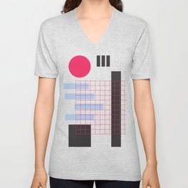 Abstract Geometric Lines and Circle Unisex V-Neck