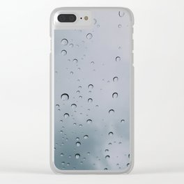 Drops of water on a glass, on a blue background Clear iPhone Case