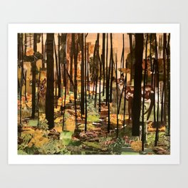 """Hidden in the Trees"" in cut paper Art Print"