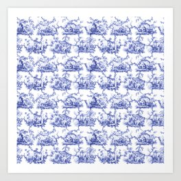 Blue Chinoiserie Toile Art Print