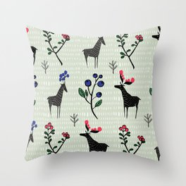 Berry loving deers on a green background Throw Pillow