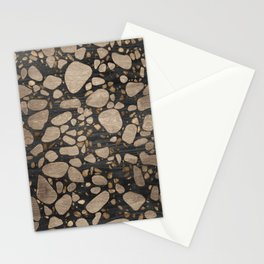 Terrazzo - Mosaic - Wooden texture and gold #2 Stationery Cards
