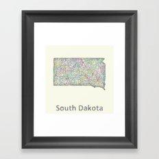 South Dakota map Framed Art Print