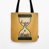 tetris Tote Bags featuring tetris by gazonula