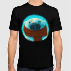 Polar bear with scarf Mens Fitted Tee LARGE Black