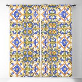 Summer,colourful detailed Sicilian style art Blackout Curtain