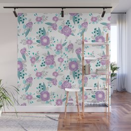 Floral bouquet minimal lilac and turquoise nursery home decor patterned gifts Wall Mural