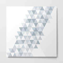 shades of ice gray triangles pattern Metal Print