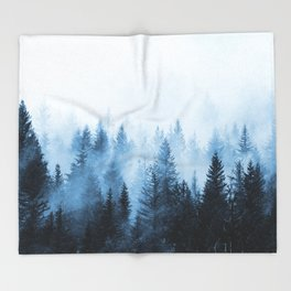 Misty Winter Forest Throw Blanket