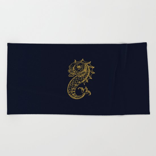The gold seahorse- Navy blue maritime print with gold ornament Beach Towel