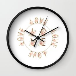 Modern Watercolour Floral Gold LOVE typography Wall Clock