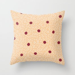 Polka dots and dashes // peach and burgundy Throw Pillow
