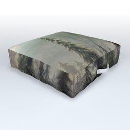 Mountain Black Bear Outdoor Floor Cushion