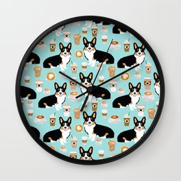 Welsh Corgi tri colored coffee lover dog gifts for corgis cafe latte pupuccino Wall Clock