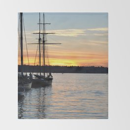 SHIPS AT SUNSET Throw Blanket