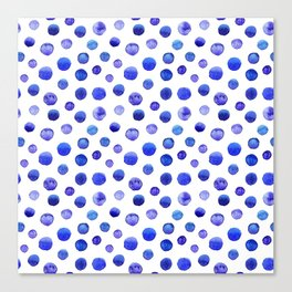 Blue polka dot watercolor pattern Canvas Print
