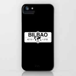 Bilbao Basque Country with World Map GPS Coordinates iPhone Case