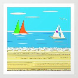 Sailing - Beach Life Art Print