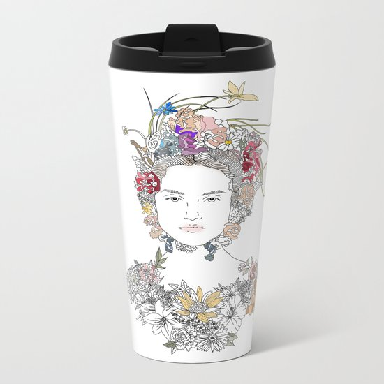 Floral Girl Metal Travel Mug