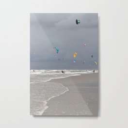 Thunderclouds and sunshine -  grey sky wind and kitesurfers in Holland -  Metal Print