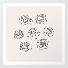 7 of Roses Art Print