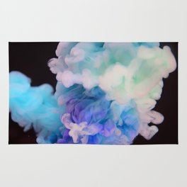 Ink in Water | Blue and Pink Watercolor | Abstract Rug