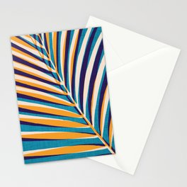 Gold and Navy Abstract Palm Frond Stationery Cards