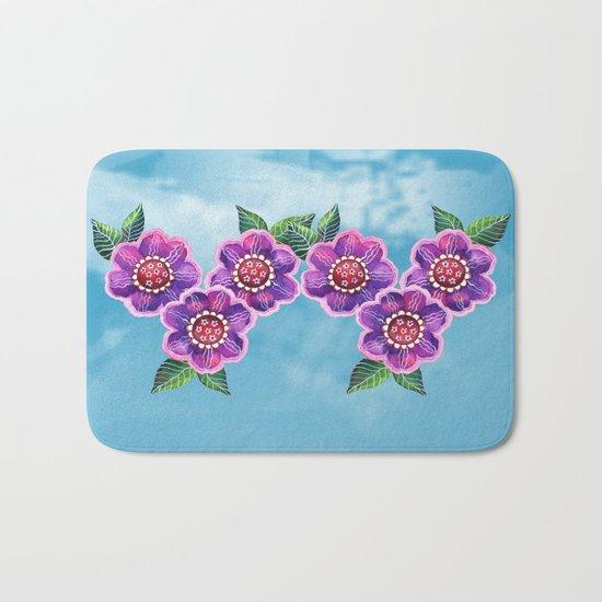 Purple Flowers II Bath Mat