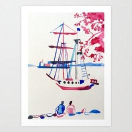 Le bateau en Bretagne Art Print