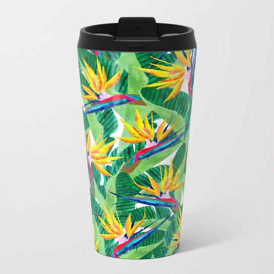 Summer Strelitzia Metal Travel Mug