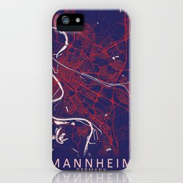 Mannheim, Germany, Blue, White, City, Map iPhone Case