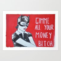 ghost world Art Prints featuring Ghost world by Blanc Lemur