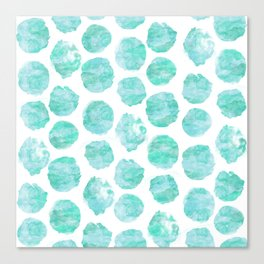 Turquoise and Aqua Watercolor Dots Canvas Print
