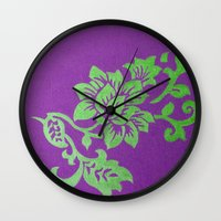 floral pattern Wall Clocks featuring Floral Pattern by Marjolein