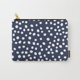 Dark Blue and white doodle dots Carry-All Pouch