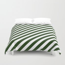 Large Dark Forest Green and White Candy Cane Stripes Duvet Cover