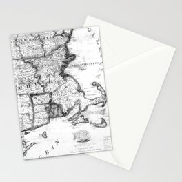 Vintage Map of New England States (1843) BW Stationery Cards