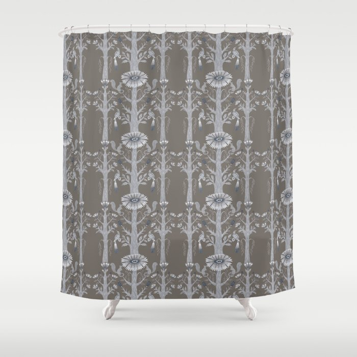 Grey Floral Woods Shower Curtain By Kellylouisejudd