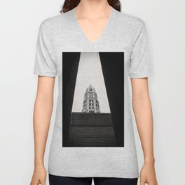 Mather Tower Building Top Chicago Black and White Photo Unisex V-Neck