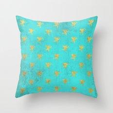 Gold Angels on aqua backround- pattern Throw Pillow