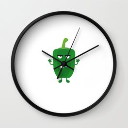 Green angry Capsicum Wall Clock