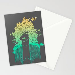 Silhouette gradient of a girl Stationery Cards